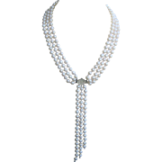 Vintage Sterling Crystal Triple Strand Cultured Pearl Necklace