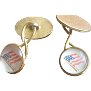 Antique Victorian Gold Filled Flag Cuff Links