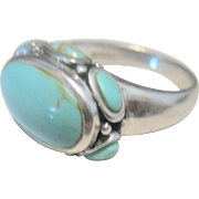 Vintage Sleeping Beauty Turquoise Sterling Cocktail Ring
