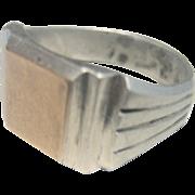 Vintage Art Deco English 18kt Sterling Signet Ring