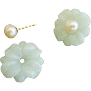 Vintage 14kt Chinese Pale Green Jade Flower Earring Jackets with White Pearl Stud