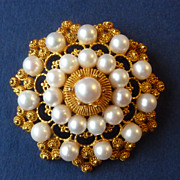 Vintage 10k Gold & Cultured Pearl Cannetille Pin Brooch Pendant