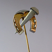 Antique Platinum & 14k Yellow Gold Large Stickpin Equestrian Figural Horseshoe & Nail Stick Pi