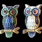 SALE 2 Little Vintage Signed Trifari Enamel Owl Bird on Branch Pins