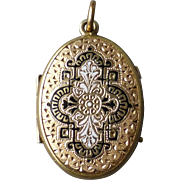 Antique Victorian Gold Filled & Enamel Locket Pendant with Engraved Flowers & Bird