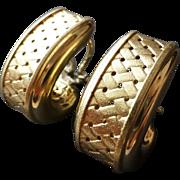 Italian 14k Yellow Gold Faux Basket Weave Earrings for Pierced Ears