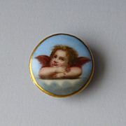 Antique Edwardian or Victorian Hand Painted Porcelain Cherub Angel Collar or Stud Button