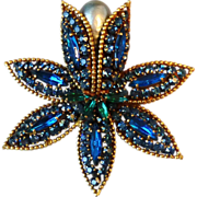 Large Signed Vendome Blue & Green Rhinestone & Gray Faux Pearl Flower Pin