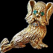 Vintage Estate 14k Yellow Gold & Gemstone Funny Little Shaggy Dog Pin