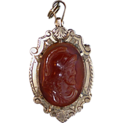 Antique Victorian 10k Gold Banded Agate & Carnelian Hardstone Cameo Fob Locket with Early