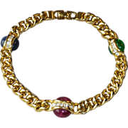 Vintage Christian Dior Germany Gold Tone Chain Bracelet with Glass Cabochon Jewels and ...