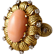 Beautiful Vintage 14k Gold Coral Diamond Sunflower Ring