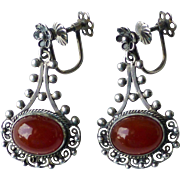 Vintage Pair 800 Silver Filigree & Carnelian Cabochon Drop Screw Back Earrings