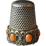 Vintage 800 Silver Sewing Thimble set with Coral Cabochons