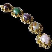 Vintage Signed Castlecliff Big Natural Stone Agate Quartz Cabochon Bracelet