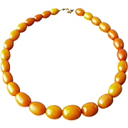 "Vintage Art Deco Era Butterscotch Baltic Amber Graduated Bead Necklace 16-1/2"" Long, 32 ."