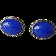 Vintage Italian 800 Silver & Blue Cabochon Cufflinks Signed F.lli Peruzzi