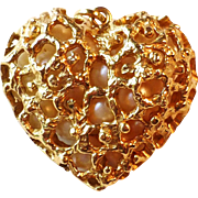 """Vintage Modernist Brutalist 14k Yellow Gold Openwork Big 1"""" Heart Charm or Pendant with C"""