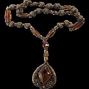 Edwardian Filigree Amber Czech Necklace