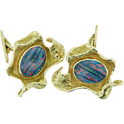 Hand Made Gold and Doublet Opal Cufflinks