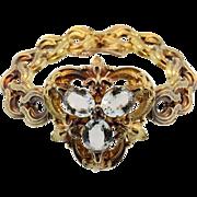 Antique 14 KT Yellow Gold Aquamarine Ruby Bracelet
