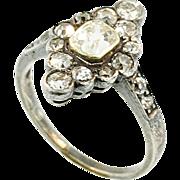 Antique Circa 1840 Diamond Silver and Gold Ring