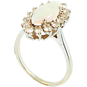 Vintage 14kt White Gold Diamond and Opal Ring