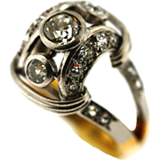 Hand Made French Retro Platinum Gold and Diamond Ring