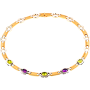 SALE Vintage Italian 14KT Gold, Amethyst and Peridot Necklace