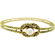 Hand Made Victorian Gold and Moonstone Bangle
