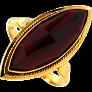 Vintage Dutch Hand Made 18KT Yellow Gold Garnet Ring