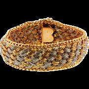 Vintage Bvlgari Yellow and White Gold Mesh Bracelet
