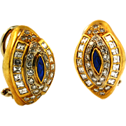 SALE Vintage High Quality Diamond and Sapphire Earrings