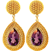 Vintage 18KT and Amethyst Ear Pendants