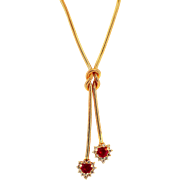 Charming Vintage Yellow Gold Ruby and Diamond Necklace