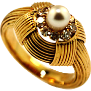 SALE Vintage Hand Made 18KT Diamond and Pearl Ring