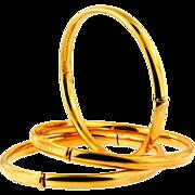 Set of Three Vintage 14KT Yellow Gold Bangles