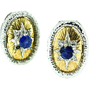 SALE 18kt Yellow and White Gold Sapphire and Diamond Earrings