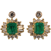 Vintage Yellow Gold Emerald and Diamond Earrings