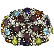Vintage 18KT White Gold Multi Gemstone Ring