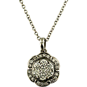 Vintage 18KT White Gold and Diamond Necklace