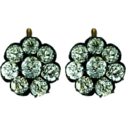 Antique Russian Diamond 6CT Cluster Earrings