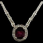 Vintage Rhodolite Garnet and Diamond Pendant