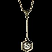 Art Deco .93 Diamond and 18KT White Gold Pendant