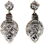 Art Deco 18KT White Gold Vintage Diamond Earrings