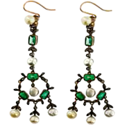 SALE Antique 14 KT  Pearl Diamond and Emerald Earrings