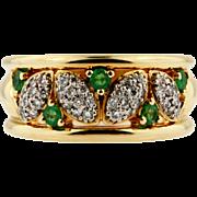 Vintage Birks Platinum 18KT Yellow Gold Diamond and Emerald Ring