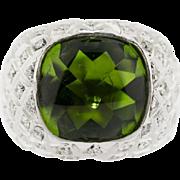Spectacular Vintage 10 ct Pakistani Peridot Diamond Ring