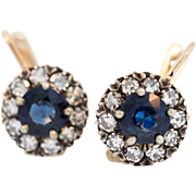 Antique Sapphire and Diamond Earrings