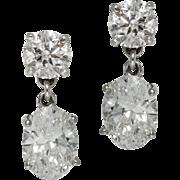Vintage 2 ct Oval Diamond Drop Earrings